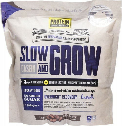 Chocolate Slow and Grow Casein (MPI) 1kg by Protein Supplies Australia
