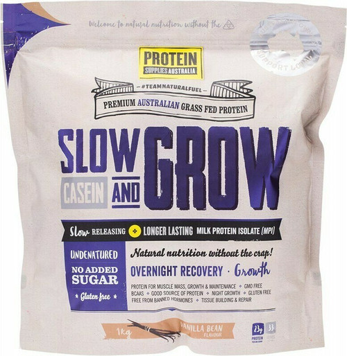Vanilla Bean Slow & Grow Casein 1kg Protein Supplies Australia