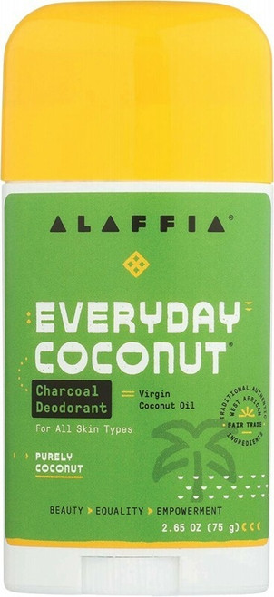 ALAFFIA Everyday Coconut Deodorant - Charcoal & Purely Coconut 75g
