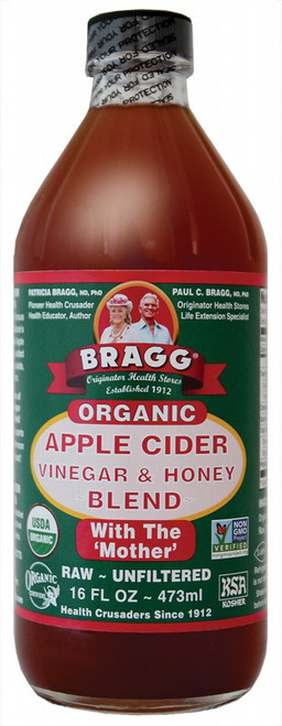 BRAGG ACV & Honey Blend 473ml  (dark bottle)
