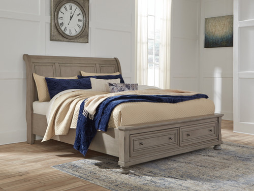 Lettner Light Gray California King Sleigh Bed with Storage