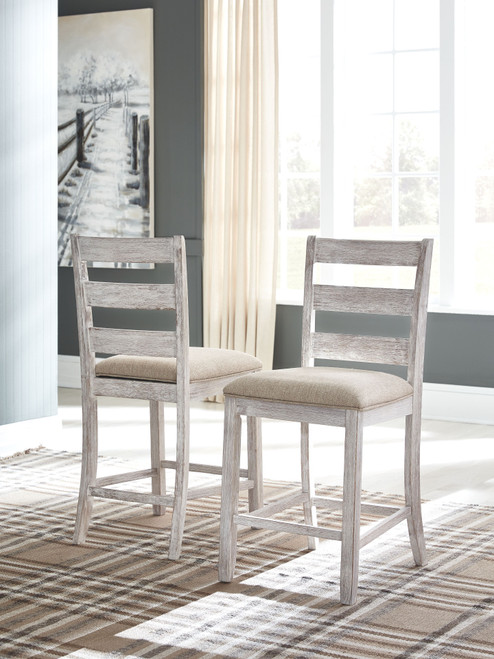 Skempton White/Light Brown 3 Pc. Rectangular Counter Table with Storage & 2 Upholstered Barstools
