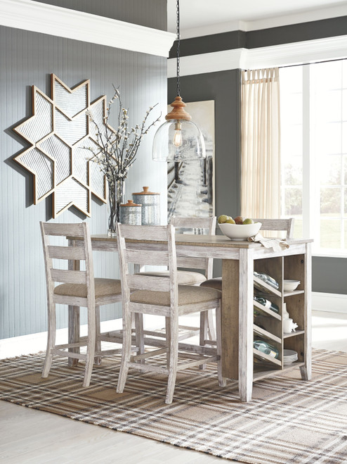 Skempton White/Light Brown 5 Pc. Rectangular Counter Table with Storage & 4 Upholstered Barstools