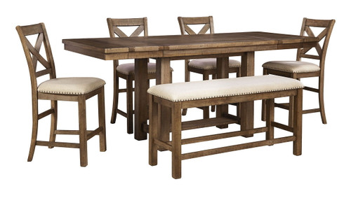 Moriville Gray 6 Pc. Rectangular  Counter EXT Table, 4 Upholstered Barstools & Double Upholstered Bench