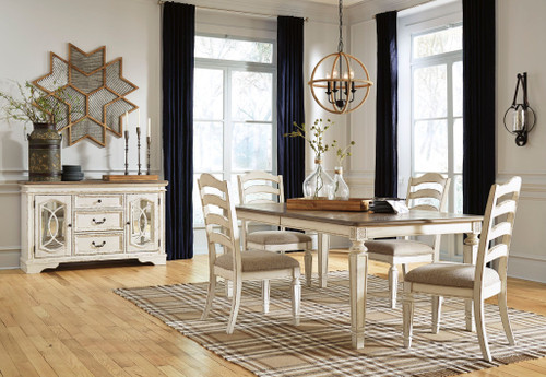 Realyn Chipped White 6 Pc. Rectangular  EXT Table, 4 Upholstered Side Chairs &  Server