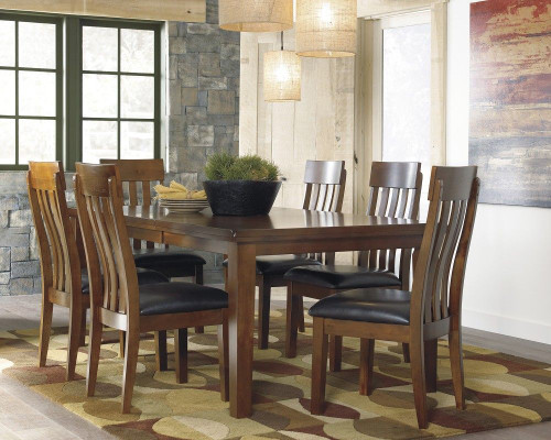 Ralene Medium Brown 7 Pc. Rectangular  Butterfly EXT Table & 6 Upholstered Side Chairs