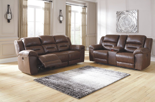 Stoneland Chocolate Reclining Power Sofa & Double Reclining Power Loveseat with Console