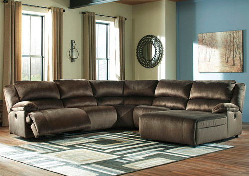 Clonmel Chocolate LAF Zero Wall Power Recliner, Armless Recliner, Wedge, Armless Chair & RAF Press Back Power Chaise Sectional