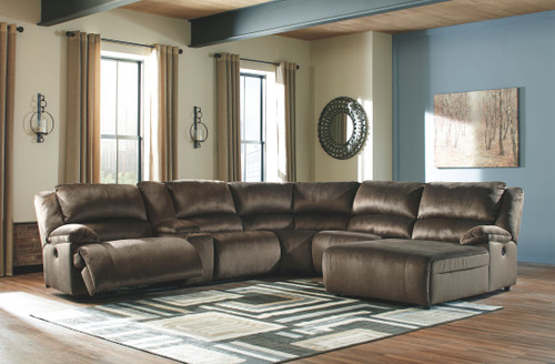 Clonmel Chocolate LAF Zero Wall Power Recliner, Console with Storage, Armless Recliner, Wedge, Armless Chair & RAF Press Back Power Chaise Sectional