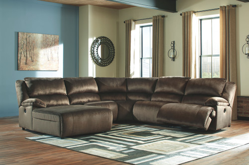 Clonmel Chocolate LAF Press Back Power Chaise, Armless Chair, Wedge, Armless Recliner & RAF Zero Wall Power Recliner Sectional