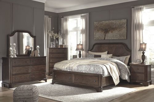 Adinton Brown 8 Pc. Dresser, Mirror, Chest, California King Panel Bed with 2 Storage Drawers & 2 Nightstands