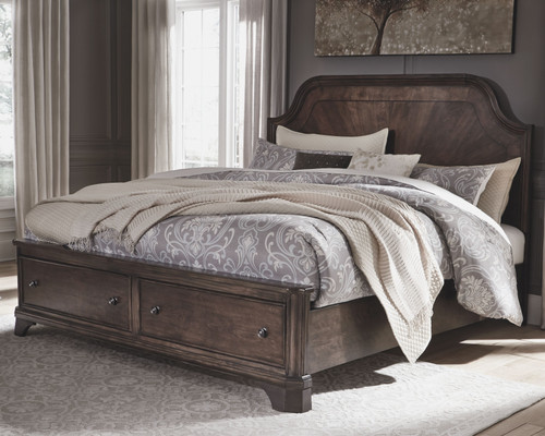 Adinton Brown California King Panel Bed with 2 Storage Drawers