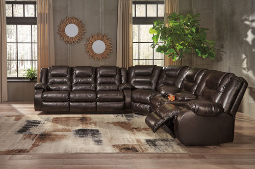Vacherie Chocolate Reclining Sofa, Wedge & Double Reclining Loveseat with Console Sectional