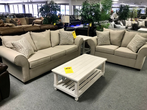 Wheat Sofa and Loveseat - Online Only