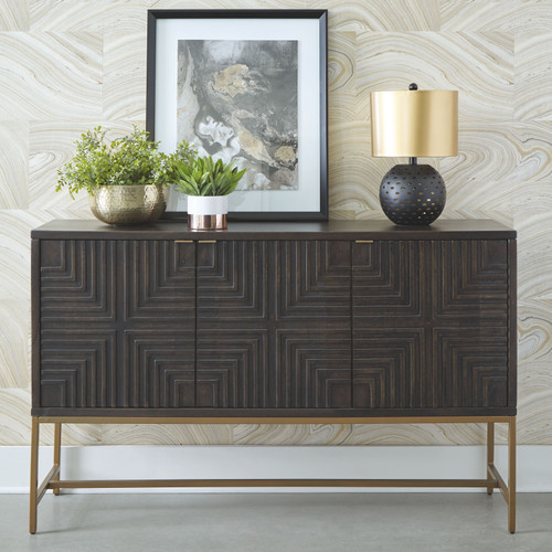 Elinmore Brown/Gold Finish Accent Cabinet