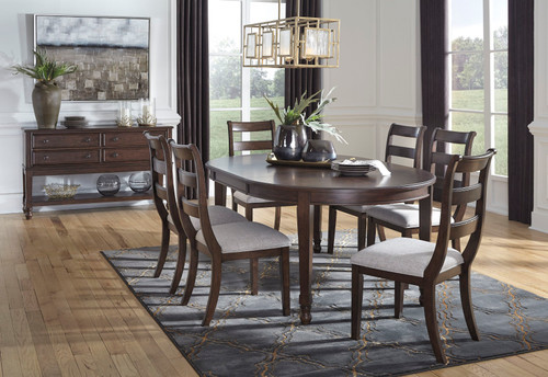 Adinton Reddish Brown 7 Pc. Oval Dining Room Extension Table, 6 Side Chairs
