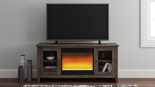 Arlenbry Gray LG TV Stand with Glass/Stone Fireplace Insert