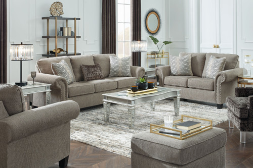 Shewsbury Pewter 7 Pc. Sofa, Loveseat, Chair, Ottoman, Tessani Cocktail Table, 2 End Tables
