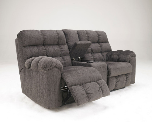 Acieona Slate Double Rec Loveseat with Console