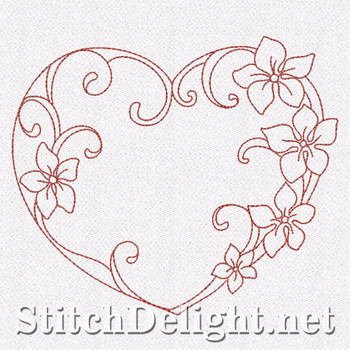 SD0665 Floral Redwork Hearts