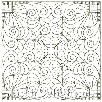 SDQL0037 Feather Quilt Square