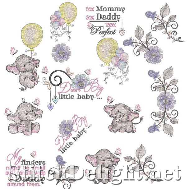 SDS1136 Little Ellie Elephant 4x4 and 5x7