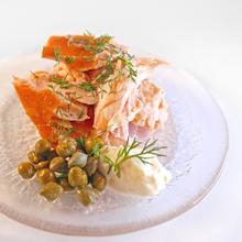 Hot smoked salmon dish