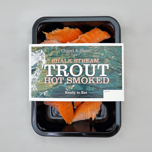 Hot smoked trout pack shot