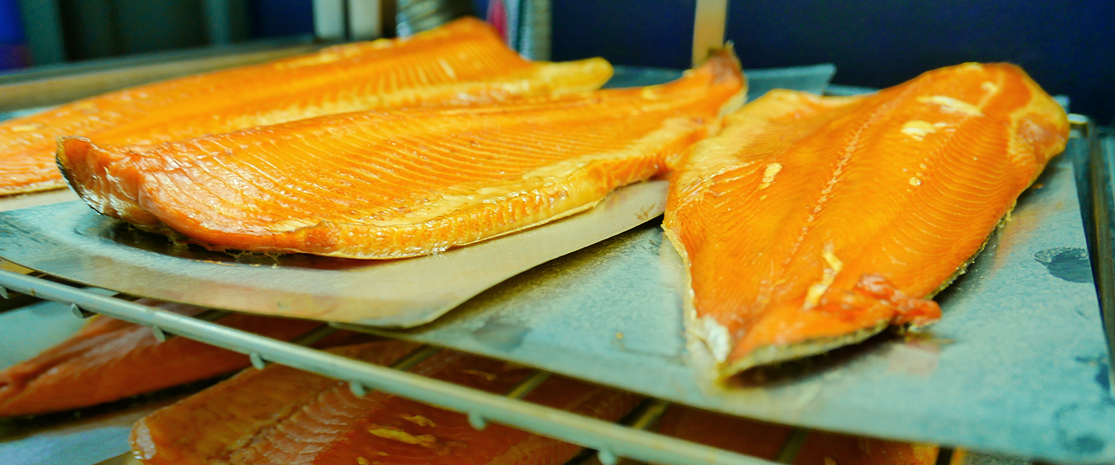 Hot smoked salmon sides straight out of the kiln