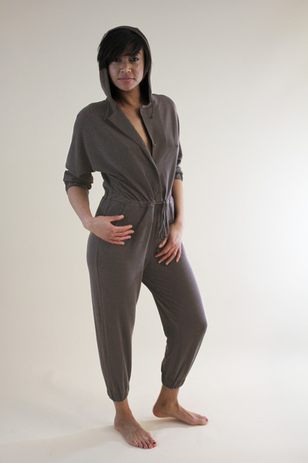 Hooded Jumpsuit in Mink French Terry