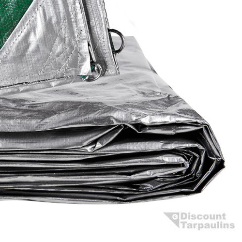 D-Ring Tarpaulin in Green/Silver. Camping Tarp, Awning Tarp, Outdoor Tarp, Construction Tarp
