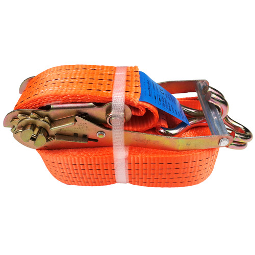 50mm hi vis ratchet strap 9 metre tail, truck strap, heavy duty strap, 2 ton strap, 2.5 ton strap, orange strap, hi vis ratchet strap, 2500kg ratchet strap