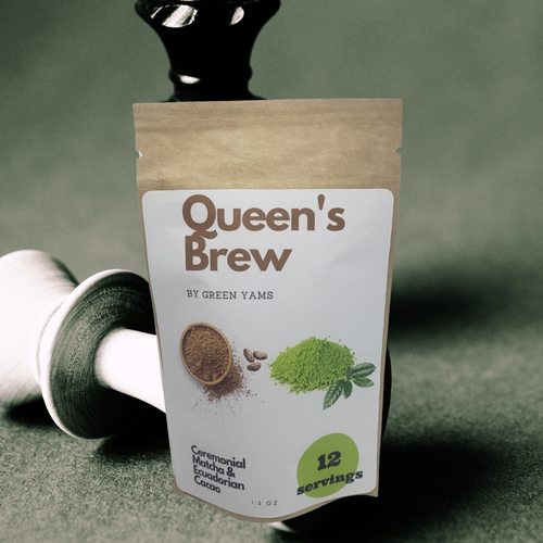 Queen's Brew has 55% Cacao Powder and 45% Matcha Powder. Enjoy the benefits of matcha and feel the cacao bliss.