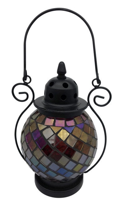 Red Diamond Mosaic Tea Light Lantern
