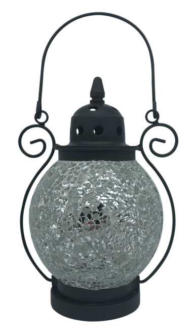 Silver Crackle Mosaic Tea Light Lantern