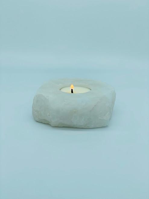 Clear Quartz Crystal Tea Light Holder