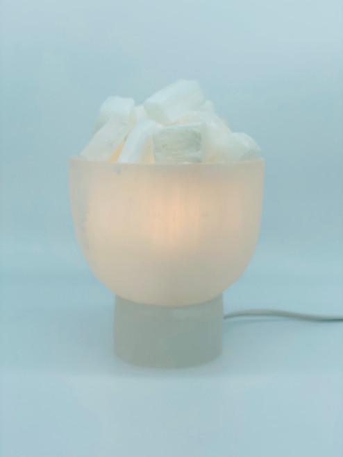 Selenite Fire Bowl Crystal Lamp