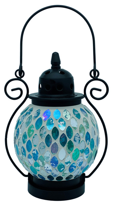 Aqua Fantasy Mosaic Tea Light Lantern