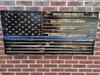 Blue Lives Matter CUSTOM Engraved Wooden American Flag