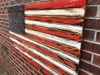 Red White and Navy Engraved Wooden American Flag