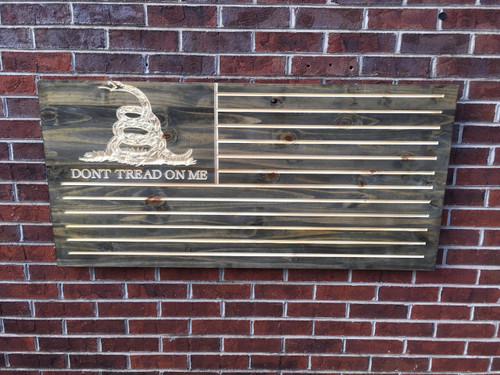 Don't Tread On Me Engraved Wooden American Flag