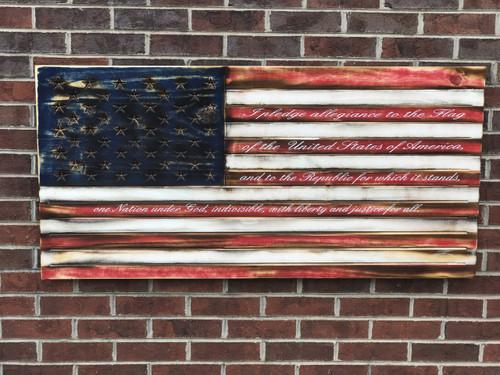 Pledge of Allegiance Engraved Wooden American Flag
