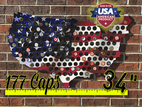 "34"" United States of America Beer Cap Map with Color Flag Print"
