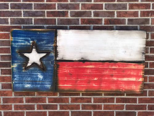 Engraved Rustic Texas Flag