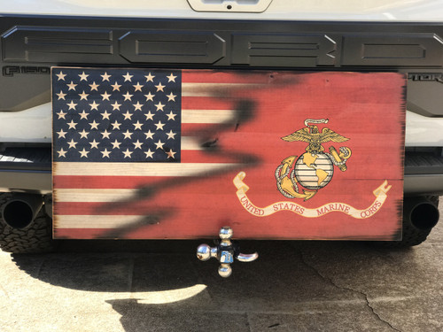 American and US Marine Corps Wooden American Flag