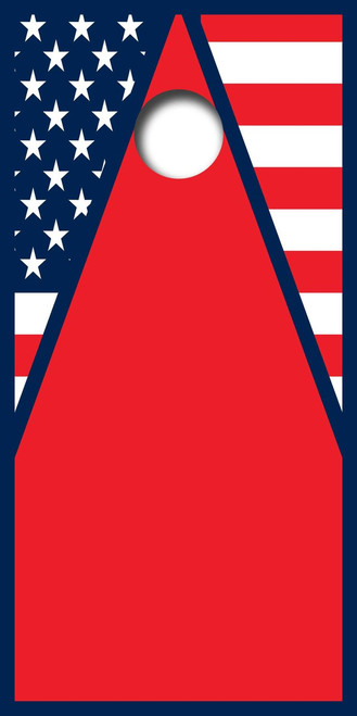 American Flag Triangle Design Cornhole Board Wrap Set LAMINATED