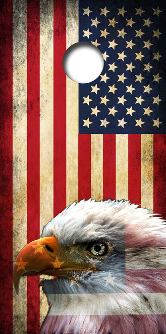 American Flag Bald Eagle Cornhole Board Wrap Set LAMINATED