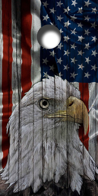 Rustic American Flag Bald Eagle Cornhole Board Wrap Set LAMINATED