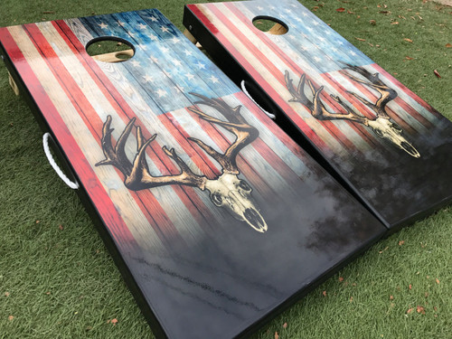 IN STOCK - American Flag Deer Skull Cornhole Boards