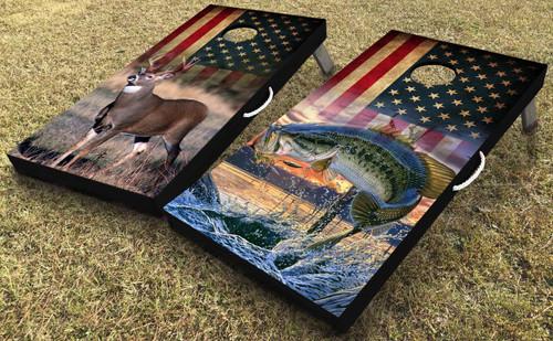 Deer and Bass Cornhole Board Set